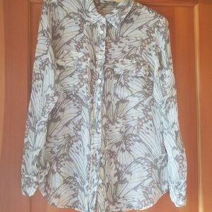Equipment femme shear blouse shirt butterfly M
